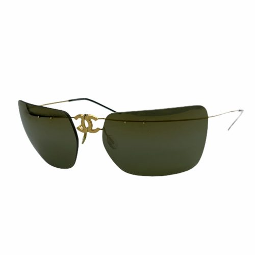 Vintage Chanel Rimless Folding Sunglasses in Brown and Gold | NITRYL