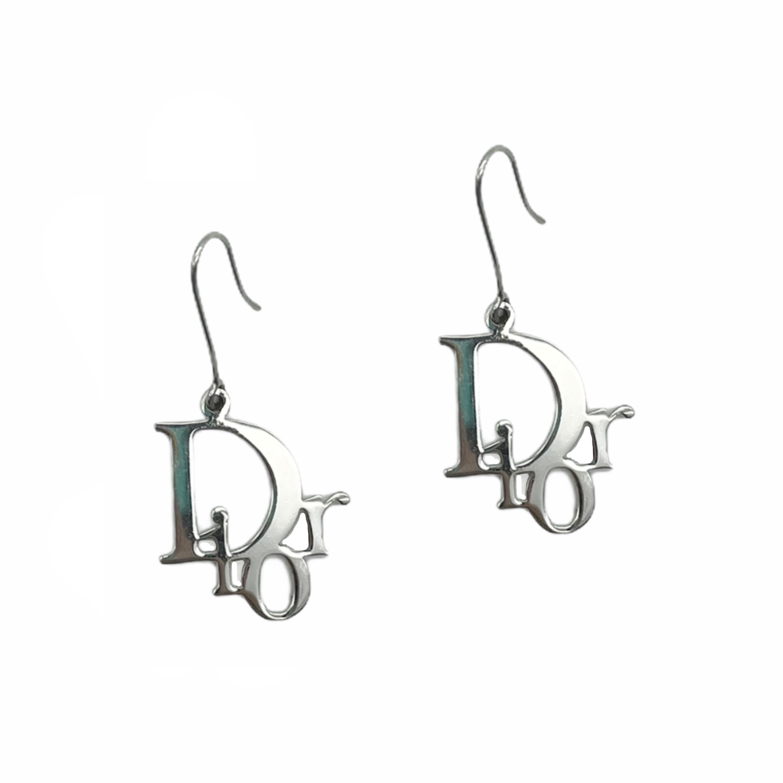 Vintage Dior Monogram Logo Drop Earrings in Silver   NITRYL