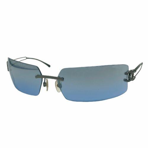 Vintage Chanel Diamante Rimless Sunglasses in Blue | NITRYL