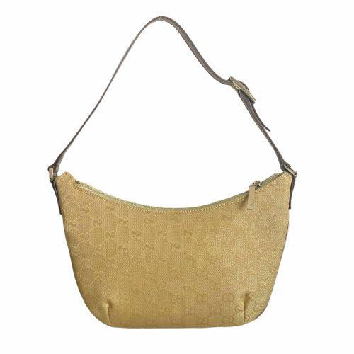 Vintage Gucci Monogram Crescent Shoulder Bag in Gold   NITRYL