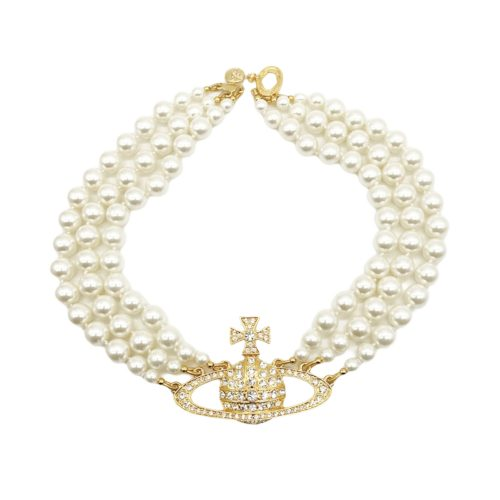Vivienne Westwood Three Row Pearl Orb Necklace in Gold | NITRYL
