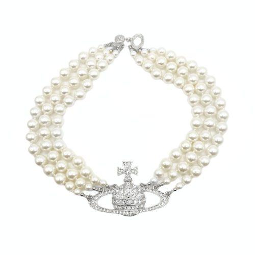 Vivienne Westwood Three Row Pearl Orb Necklace in Silver | NITRYL