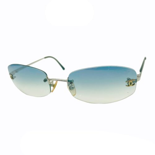 Vintage Chanel Rimless Ombre Sunglasses in Baby Blue | NITRYL