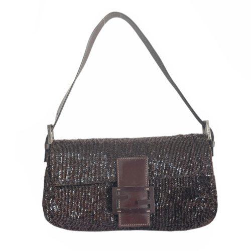 Vintage Fendi Beaded Baguette Shoulder Bag in Brown | NITRYL