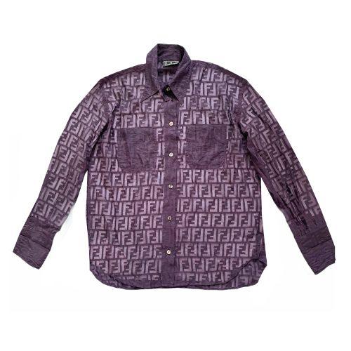 Vintage Fendi Monogram Sheer Shirt in Maroon/Purple | NITRYL