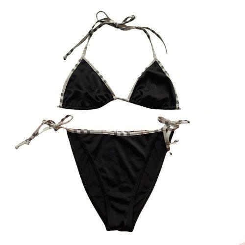Vintage Burberry Bikini in Black with Nova Check Trim | NITRYL