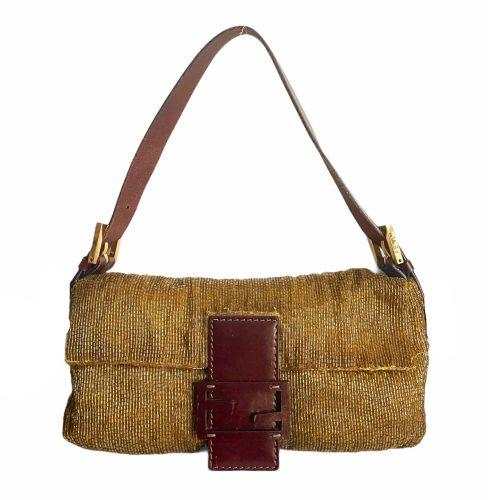 Vintage Fendi Beaded Baguette Bag in Gold and Brown | NITRYL