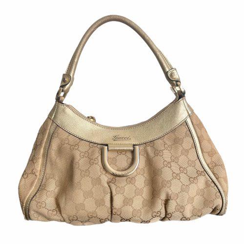 Vintage Gucci Monogram Hobo Bag in Beige and Gold   NITRYL