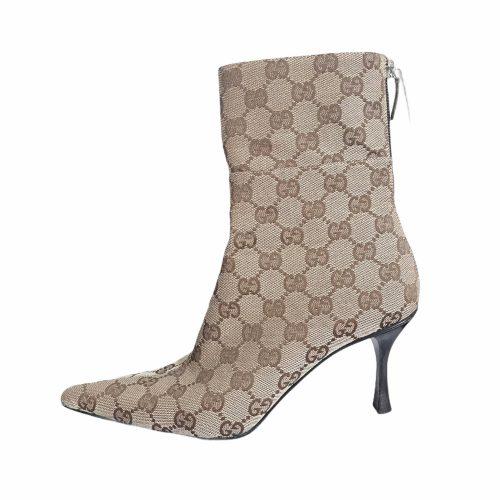 Vintage Gucci Monogram Ankle Boots in Beige Size 3   NITRYL