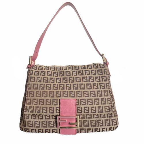 Vintage Fendi Monogram Mama Baguette Shoulder Bag in Beige and Pink | NITRYL