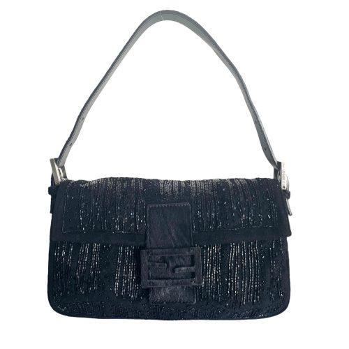 Vintage Fendi Beaded Baguette Shoulder Bag in Black | NITRYL