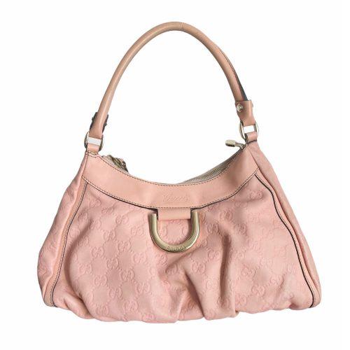 Vintage Gucci Monogram Hobo Shoulder Bag in Baby Pink   NITRYL