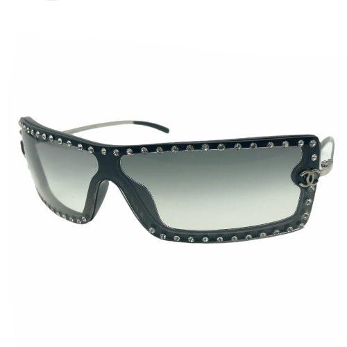 Vintage Chanel Diamante Visor Sunglasses in Black | NITRYL