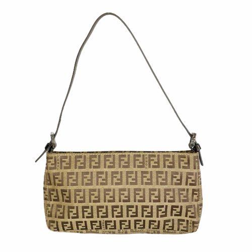 Vintage Fendi Zucchino Monogram Mini Baguette Shoulder Bag in Brown | NITRYL