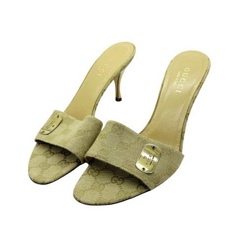 Vintage Gucci Monogram Slip on Heels in Beige Size 6 | NITRYL