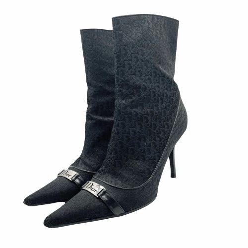 Vintage Dior Monogram Spellout Heeled Boots in Black and Silver | NITRYL