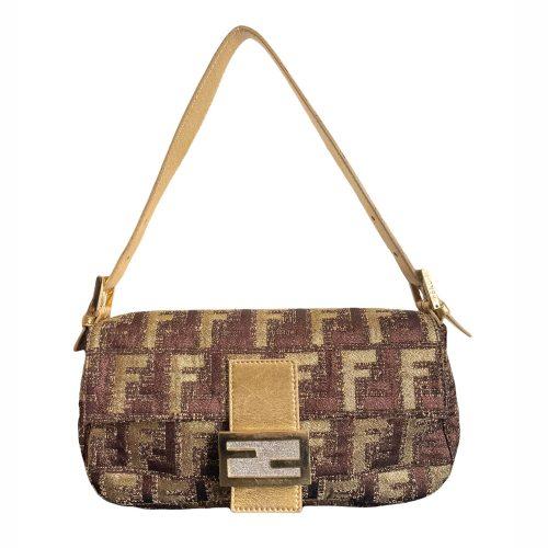 Vintage Fendi Limited Edition Zucca Monogram Baguette Bag in Gold and Bronze | NITRYLm