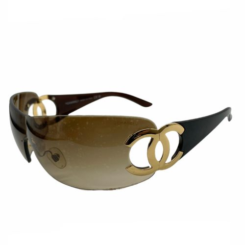 Vintage Chanel Rimless Visor Sunglasses in Brown and Gold | NITRYL