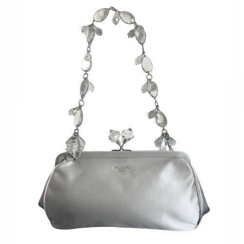 Vintage Prada Satin Crystal Baguette Bag in Grey/Silver with Rare Jewelled Strap | NITRYL