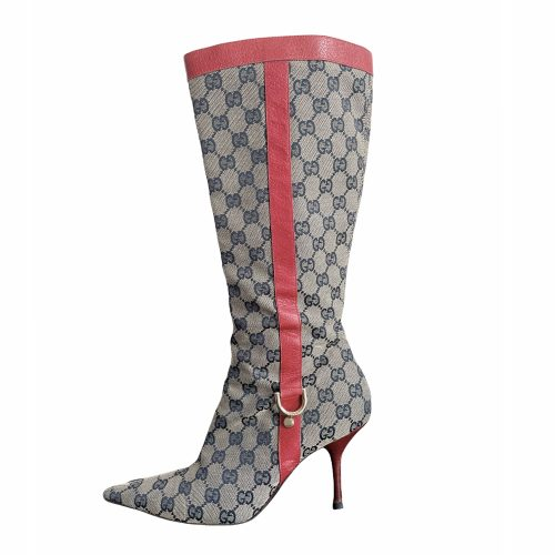 Vintage Gucci Monogram Stiletto Heeled Boots in Grey and Red   NITRYL
