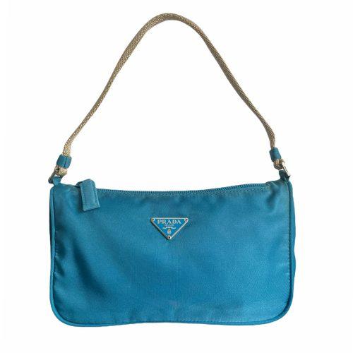 Vintage Prada Nylon Mini Shoulder Bag in Aqua | NITRYL