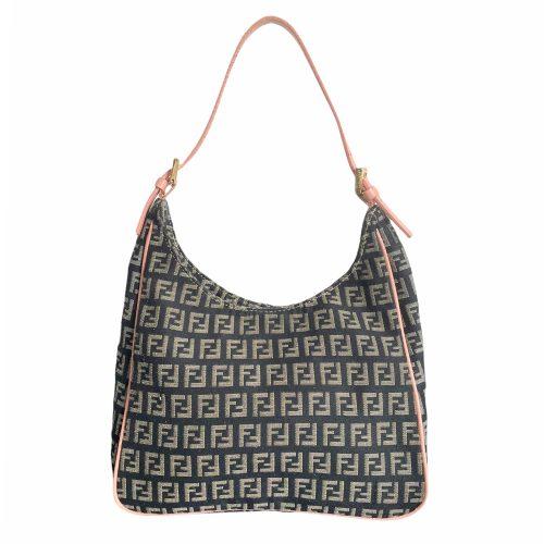 Vintage Fendi Monogram Shoulder Mini Bag in Black and Pink | NITRYL