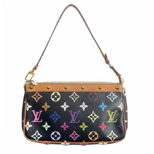 Vintage Louis Vuitton Takashi Murakami Multicolour Pochette Mini Shoulder Bag in Black | NITRYL