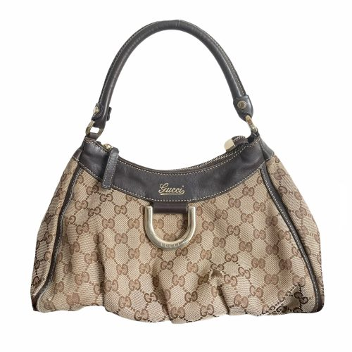 Vintage Gucci Monogram Hobo Shoulder Bag in Brown   NITRYL