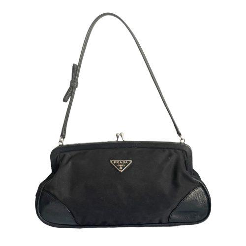 Vintage Prada Nylon Mini Shoulder Bag in Black | NITRYL