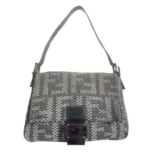 Vintage Fendi Monogram Wool Mama Baguette Shoulder Bag in Grey | NITRYL