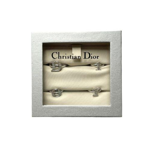 Vintage Dior Diamante 4 Letter Logo Ring Set in Silver   NITRYL