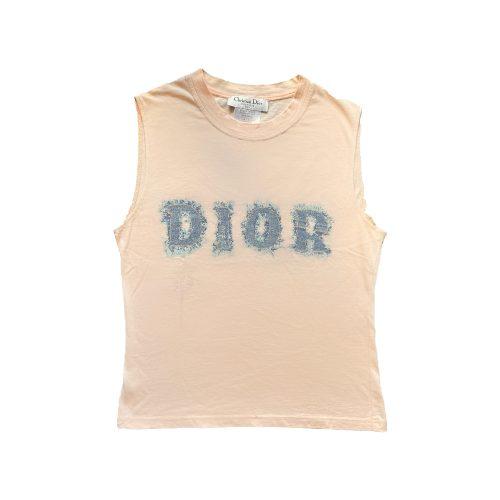 Vintage Dior Denim Logo Vest Top in Pink   NITRYL