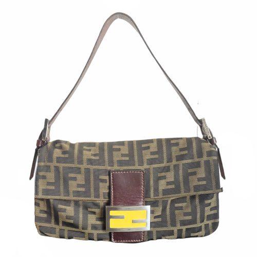 Vintage Fendi Zucca Monogram Baguette Shoulder Bag with Yellow Enamel Logo | NITRYL