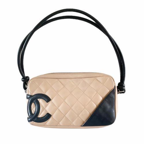 Vintage Chanel Cambon Pochette Shoulder Bag in Tan and Black | NITRYL