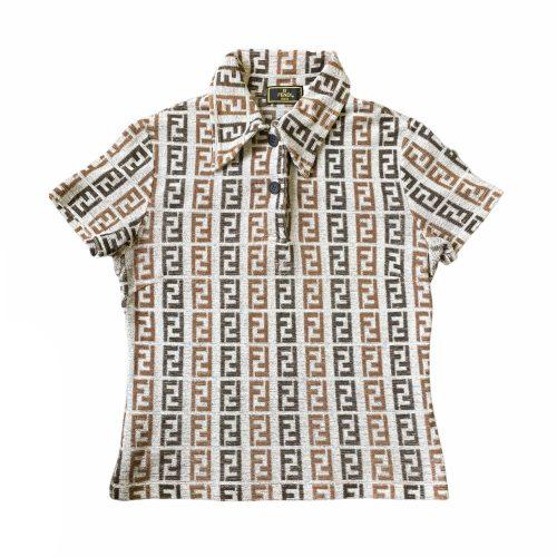 Vintage Fendi Monogram Terrycloth Collared Top in Grey | NITRYL
