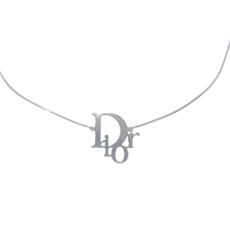 Vintage Dior Logo Monogram Necklace in Silver | NITRYL