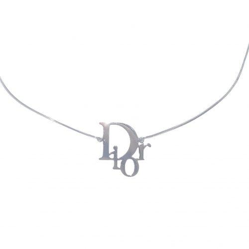 Vintage Dior Logo Monogram Necklace in Silver   NITRYL