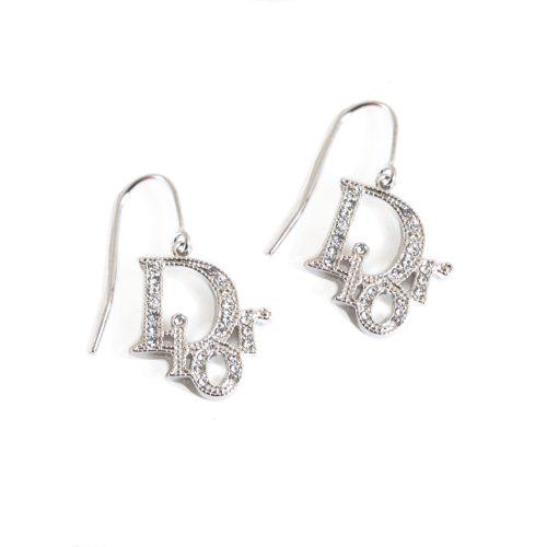 Vintage Dior Diamante Logo Earrings in Silver   NITRYL