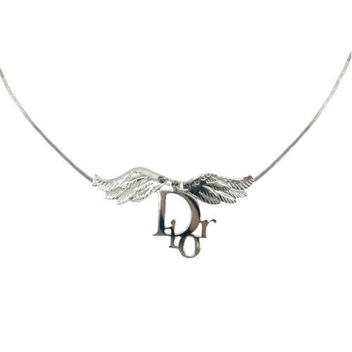 Vintage Vintage Dior Logo Wings Necklace in Silver   NITRYL