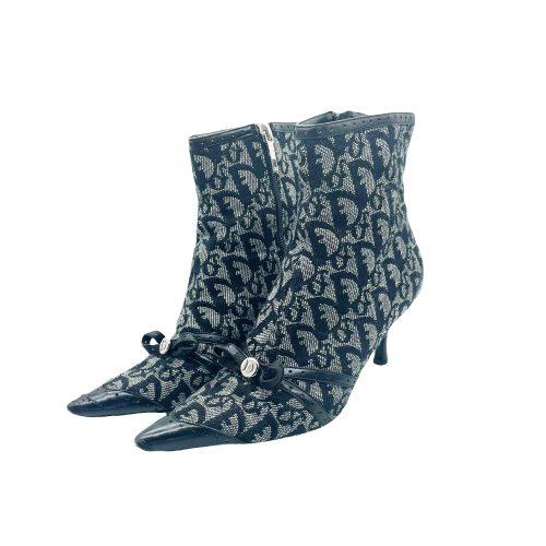 Vintage Dior Monogram Ankle Boots in Black UK 3 | NITRYL