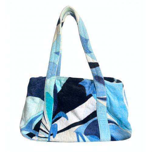 Vintage Emilio Pucci Terrycloth Towelling Shoulder Bag in Blue | NITRYL