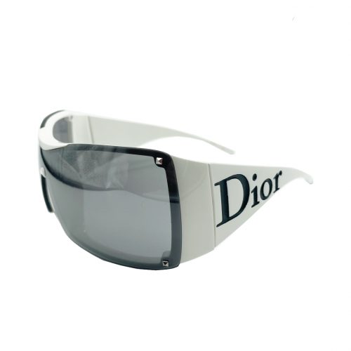 Dior Chunky Logo Spellout Sunglasses in White and Black | NITRYL