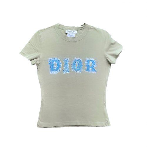 Vintage Dior Denim Logo Spellout T-Shirt in Khaki Size 8   NITRYL