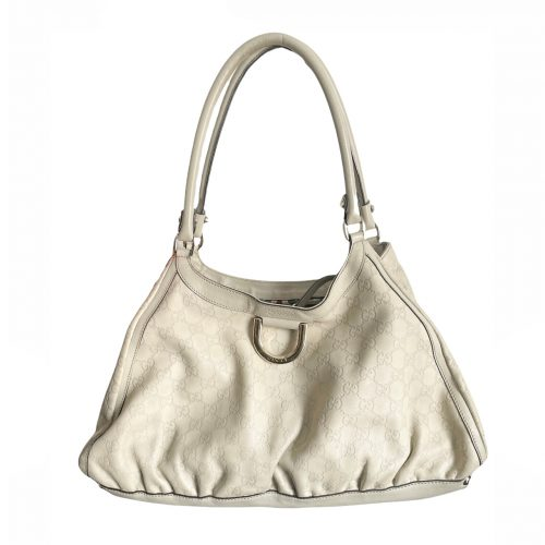 Vintage Gucci Monogram Hobo Shoulder Bag in Cream   NITRYL