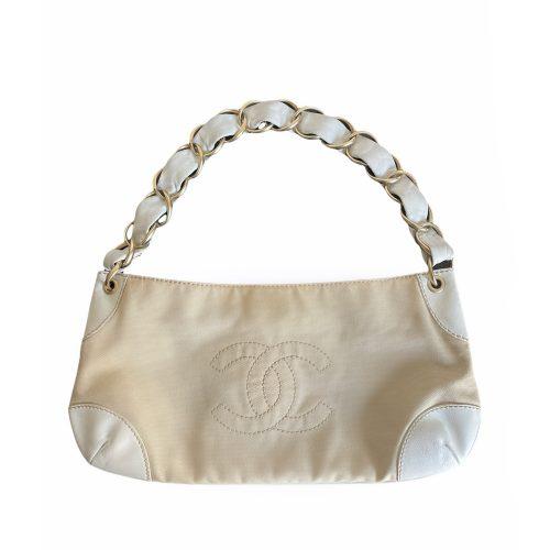 Vintage Chanel Canvas Logo Baguette Shoulder Bag in Beige and White | NITRYL