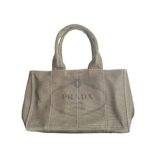 Vintage Prada Canvas Tote Bag in Khaki | NITRYL