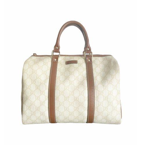 Vintage Gucci Monogram Boston Bag in Cream and Tan | NITRYL