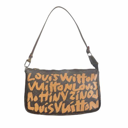 Vintage Louis Vuitton Stephen Sprouse Graffiti Pochette Mini Shoulder Bag in Brown and Orange | NITRYL