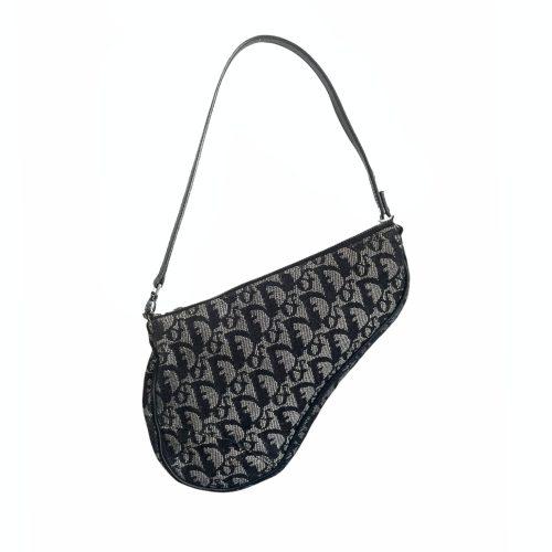 Vintage Dior Monogram Mini Saddle Shoulder Bag in Black | NITRYL
