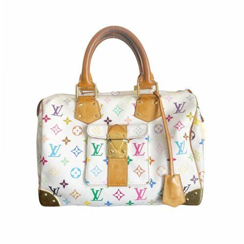 Vintage Louis Vuitton Murakami Multicolour Speedy Bag in White | NITRYL